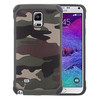 Insten Camouflage Hard Dual Layer Silicone Case For Samsung Galaxy Note 4 - Green/Black