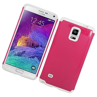 Insten Hard Hybrid Rubberized Silicone Case For Samsung Galaxy Note 4 - Hot Pink/White
