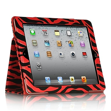 Insten Zebra Pouch Sleeper Function Leather Folio Stand Case Cover For Apple iPad 2 / 3 - Red/Black