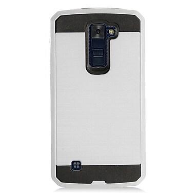 Insten Brushed Metal Hybrid Hard Plastic TPU Shockproof Case Cover For LG K10 K420N - Silver/Black