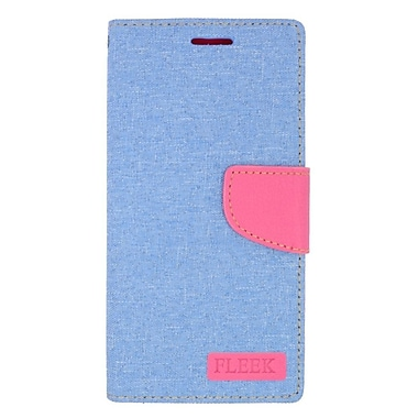 Insten Leather Wallet Case with Card slot & Photo Display For Samsung Galaxy Note 5 - Light Blue/Pink