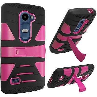 Insten Hard Dual Layer Silicone Cover Case w/stand For LG Destiny/Leon/Power/Risio/Sunset/Tribute 2 - Hot Pink/Black