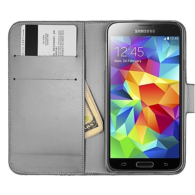 Insten Folio Leather Wallet Diamond Cover Case with Card slot For Samsung Galaxy S5 - Black 24085263