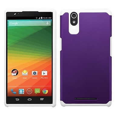 Insten Hard Hybrid Rugged Shockproof Rubberized Silicone Case For ZTE ZMax - Purple/White