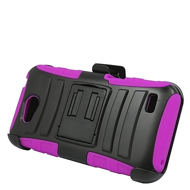 Insten Hard Hybrid Plastic Silicone Stand Case with Holster For ZTE Speed - Black/Hot Pink