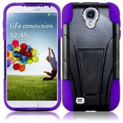 Insten For Samsung Galaxy S4 i9500 Hybrid Rugged Hard Shockproof Cover holster Case - Black +Purple2