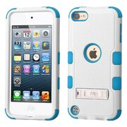 Insten Hard Hybrid Rubberized Silicone Cover Case with stand For Apple iPod Touch 5th Gen/6th Gen, White/Blue (2195686)