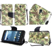 Insten Flip Leather Fabric Cover Case Lanyard w/stand For ZTE Avid / Cheers / Trio - Green/Brown