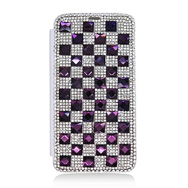 Insten Book-Style Wallet Leather 3D Bling Case with Card slot For LG G3 - Silver/Purple