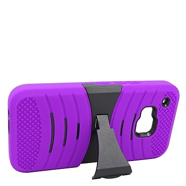 Insten Wave Symbiosis Rubber Dual Layer Hard Cover Case w/stand For HTC One M9 - Purple/Black
