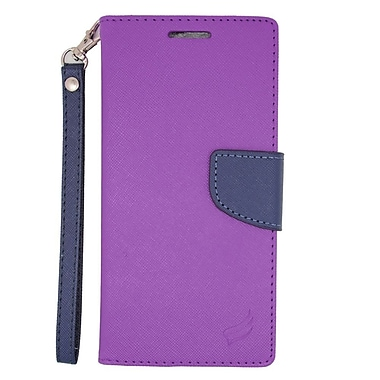 Insten Flip Wallet Leather Stand Case with Lanyard & Card slot For HTC Desire Eye - Purple/Blue