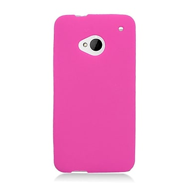 Insten Soft Rubber Case For HTC One M7 - Hot Pink