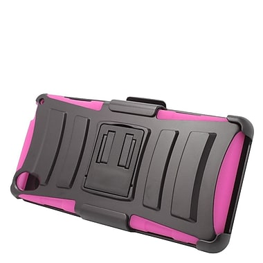 Insten Hard Hybrid Plastic Silicone Stand Case with Holster For Sony Xperia Z3 - Black/Hot Pink
