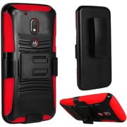 Insten Hard Hybrid Plastic Silicone Cover Case w/stand/Holster For Motorola Moto E3 / G4 Play - Black/Red