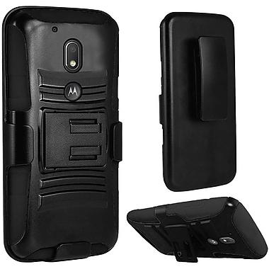 Insten Hard Hybrid Plastic Silicone Cover Case w/stand/Holster For Motorola Moto E3 / G4 Play - Black