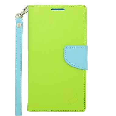 Insten Leather Wallet Case with Lanyard & Card Slot For Samsung Galaxy Note 4 - Green/Light Blue