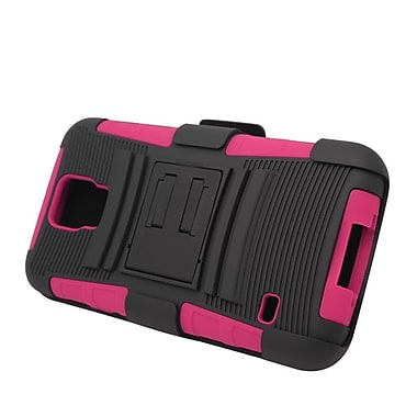 Insten Stand Dual Layer Hybrid Case with Holster For Samsung Galaxy S5 - Black/Hot Pink