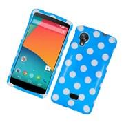 Insten Polka Dots Hard Plastic Case For LG Google Nexus 5 - Blue/White