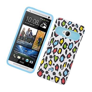 Insten Two-Tone/NightGlow Leopard Jelly Hybrid Hard Silicone Case Cover For HTC One M7 - Colorful/Blue