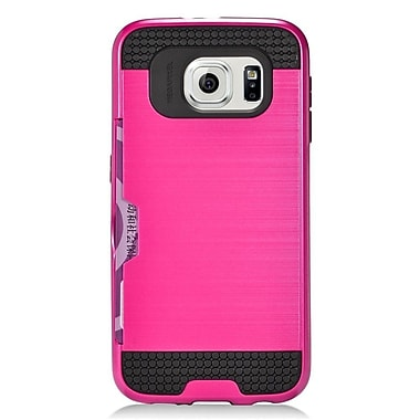 Insten Hard Dual Layer Silicone Case with Card slot For Samsung Galaxy S6 - Gray/Black