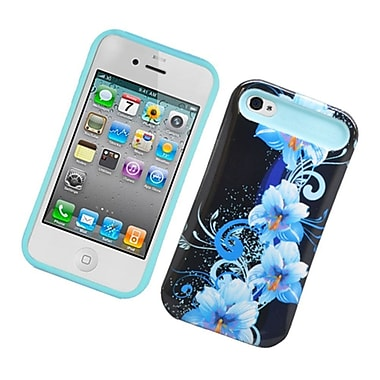 Insten Two-Tone/NightGlow Flowers Jelly Hybrid Hard Silicone Case Cover For Apple iPhone 4 / 4S - Black/Blue