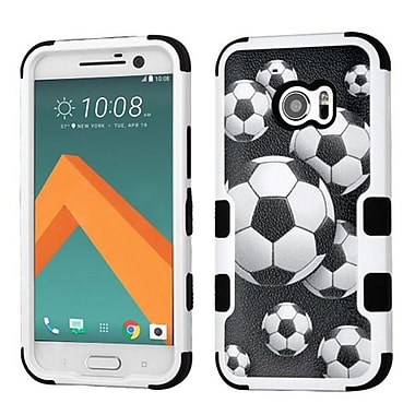 Insten Tuff Soccer Ball Collage Hybrid Soft Hard Case Cover (3-Piece Style) for HTC One M10 - Black/White