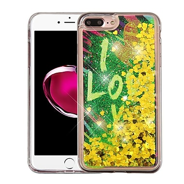 Insten I Love You Gold Hearts Quicksand Glitter Hybrid Hard/TPU Protective Case Cover For Apple iPhone 7 Plus