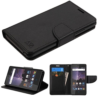 Insten Flip Leather Fabric Case w/stand/card slot For ZTE Tempo - Black
