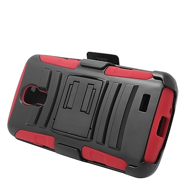 Insten Hard Hybrid Plastic Silicone Stand Case with Holster For LG F70 D315 - Black/Red