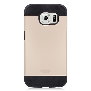 Insten Hard Hybrid Rubber Coated Silicone Case For Samsung Galaxy S6 - Gold/Black