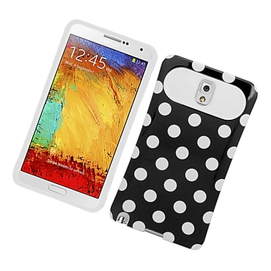 Insten Two-Tone/NightGlow Polka Dots Jelly Hybrid Hard Silicone Case Cover For Samsung Galaxy Note 3 - Black/White