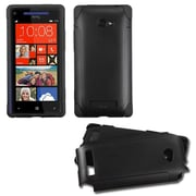 Insten Black/Black Frosted Fusion Case for HTC: Windows Phone 8X, 6990LVW (Windows 8X)