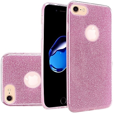 Insten Glitter Paper Hybrid Clear Hard PC/TPU Dual Layer Protective Case For Apple iPhone 7 - Light Pink