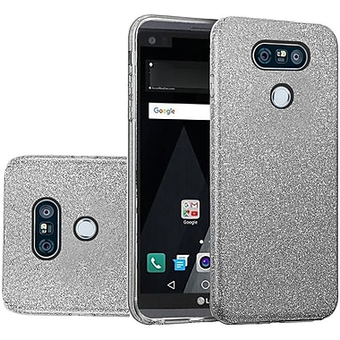 Insten Glitter Paper Hybrid Clear Hard PC/TPU Dual Layer Protective Case For LG V20 - Smoke