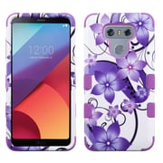 Insten Purple Hibiscus Flower/Purple TUFF Hybrid Phone Protective Cover Case [Military-Grade Certified] For LG G6