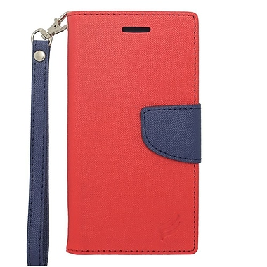Insten Book-Style Leather Case with Lanyard & Photo Display For Apple iPhone 6s / 6 - Red/Blue