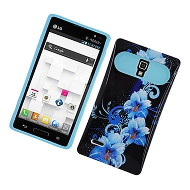 Insten Two-Tone/NightGlow Flowers Jelly Hybrid Hard Silicone Case Cover For LG Optimus L9 P769 - Black/Blue