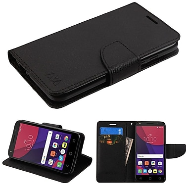Insten Book-Style Leather Fabric Cover Case w/stand/card holder For Alcatel Pixi 4 (5) - Black