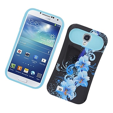 Insten Two-Tone/NightGlow Flowers Jelly Hybrid Hard Silicone Case Cover For Samsung Galaxy S4 - Black/Blue
