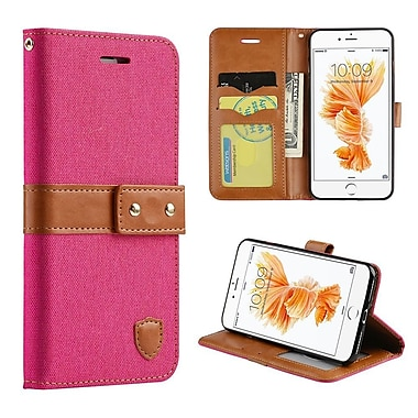 Insten Union Pouch Fabric + Leather Wallet Case - Hotpink For Iphone 7