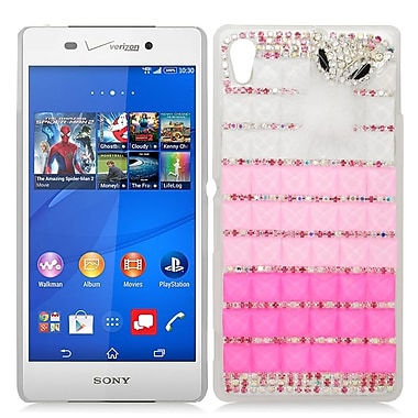 Insten Checker Hard Bling Cover Case For Sony Xperia Z3v - Pink/Hot Pink