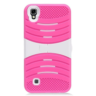 Insten Wave Symbiosis Silicone Rubber Hard Case with stand for LG X Power - Hot Pink/White