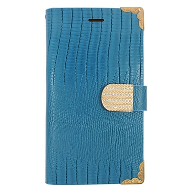Insten Flip Wallet Leather Case with Card Holder & Diamond For LG G4 - Light Blue/Gold