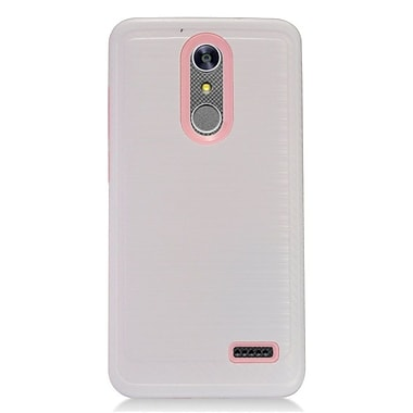 Insten Hybrid Dual Layer Brushed Metal Hard TPU Shockproof Case Cover For ZTE Grand X 4 - White/Black