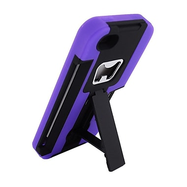 Insten Hard Hybrid Dual Layer Rubber Silicone Case Stand for Apple iPhone SE / 5 / 5S - Black/Purple