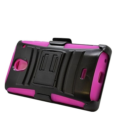 Insten Hard Hybrid Plastic Silicone Stand Case with Holster For Sharp Aquos Crystal - Black/Hot Pink