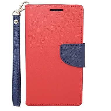 Insten Flip Wallet Leather Fabric Case with Card Slot & Lanyard For LG G3 - Red/Blue