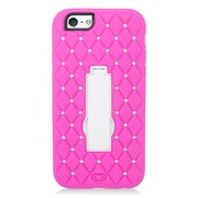 Insten Symbiosis Skin Dual Layer Rubber Hard Case with Diamond for iPhone 6 / 6s - Hot Pink/White