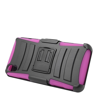 Insten Hard Hybrid Plastic Silicone Stand Case with Holster For Sony Xperia Z3v - Black/Hot Pink
