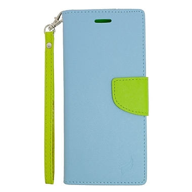 Insten Leather Wallet Case with Lanyard & Card Slot For Samsung Galaxy Note 5 - Light Blue/Green